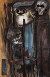 Armando BALDINELLI 1965 assemblage of steel, bone, oil and found objects on panel - 91x81 cm