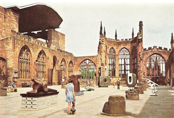 "Coventry Cathedral in June/August, 1968: ""Exhibition of British Sculpture"" - view of some major sculptures (Chief Exhibition Organiser: Fabio Barraclough)"