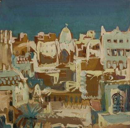 "Walter BATTISS ""Arabian City"" - oil/canvas - 30x30cm - first sold through Gallery 101, Johannesburg"