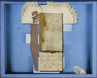 "Wim BLOM ""Fragments of memory"", 1980 - collage - 15x19 cm (Bernardi Auctioneers, Pretoria - 22nd October 2012 Lot 552"