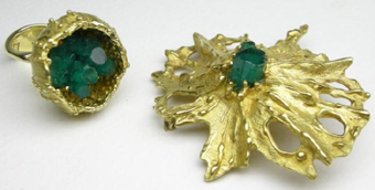 H Peter Cullman 18ct gold jewellery with emerald crystals exhibited at Gallery 21 Hyde Park Sandton in 1974