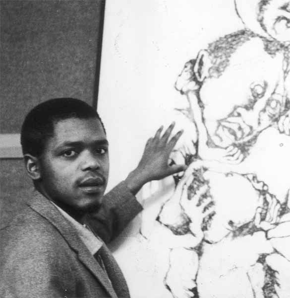 DUMILE explaining one of his larger drawings at the Durban Art Gallery, 1966