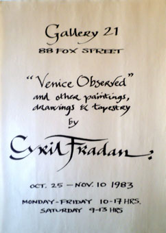 Cyril Fradan exhibition poster Gallery 21 Johannesburg October-November 1983