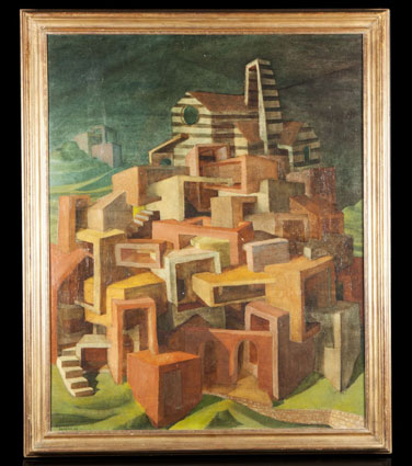 "Cyril FRADAN ""Umbrian City"", 1953 - oil/board - 92x73 cm"