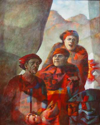 "Cyril FRADAN ""Three figure composition"", 1979 acrylic/canvas 139x109 cm (Coll. NMMAM Port Elizabeth)"