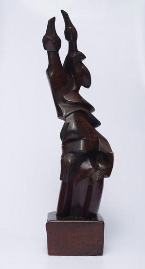"Koos den Houting ""Dancing Birds"", 1970 - wood - 83cm incl. base"