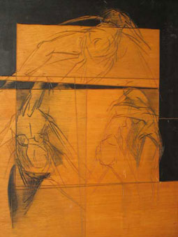 "JJ den Houting ""Figures"" – incised painted wood panel – 60x50 cm – prov. Gallery 21 Hyde Park - Lot 91"