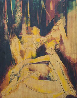 "JJ den Houting ""Nudes in a forest"", 1974 – incised painted wood panel – 106x81 cm – Lot 511"