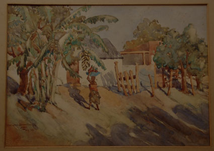 "John McLAREN ""Cattle Sheds - Barberton - Tvl - July 1927"" - watercolour - 26x36 cm"