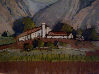 """Farmhouse"", June 1934 - pastel 25x35 cm dated June 1934 - signed: J McLaren"