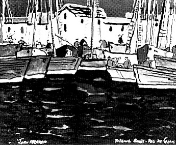 "John McLAREN ""Fishing boats, Pas de Calais"" - gouache - ill. in Arts Calendar March 1973 - SAAA, Pretoria, p.5"