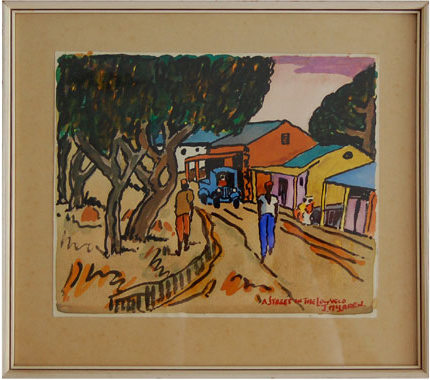"John McLaren ""A street in the Lowveld"" - signed: J McLaren"