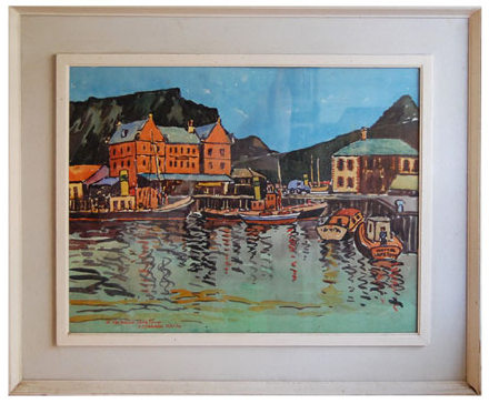 "John McLAREN ""In the docks Cape Town"" - signed J McLaren May '54"