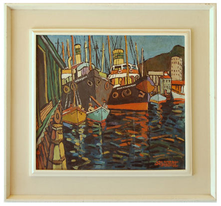 "John McLAREN ""In the Alfred Basin Cape Town docks"" - signed J McLaren IX.LIV (9/54)"