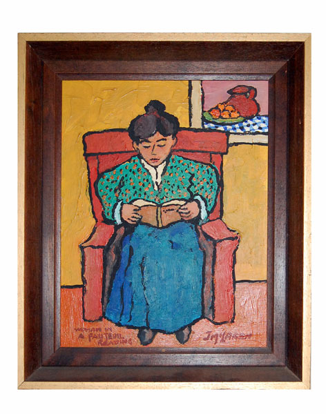 "John McLaren ""Woman in a fauteuil reading"" - signed: J McLaren"