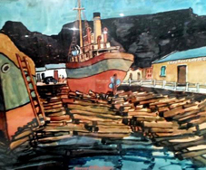 "John McLAREN - ""Slipway Cape Town docks"" - gouache - 50x62 cm - offered by BidorBuy ID 92189069"