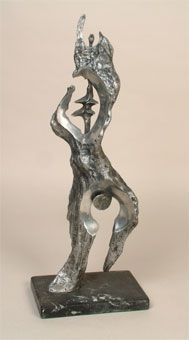 "Johan van Heerden ""Untitled"", 1979 cast aluminium ed. 4/10 58cm H ill. in ""Lantern"" Journal, Pretoria, April 1985 - Vol. 34, No. 2, ill. p. 39 (SANLAM Art Collection)"