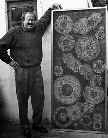 "Eduard Ladan with his panel ""16521 nails"", 1966 - 190x100cm - 181 kg (img Merwyn Saxe)"