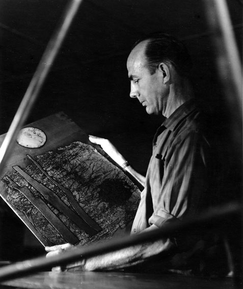 Eben Leibbrandt holding one his original copper plates shown at Gallery 101 in August, 1962