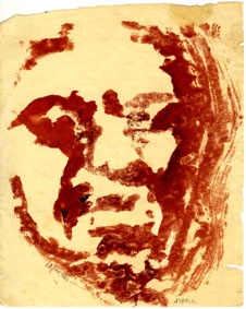 """Portrait of Dumile"" - monotype by Dani Malan, co-signed ""Malan 67"" and ""Dumile"" (Coll. Oliewenhuis Art Museum, Bloemfontein)"