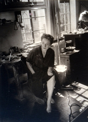 Margaret Richardson in her jewellers studio in Johannesburg 1958