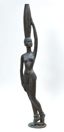 "Hennie Potgieter ""Mabalel"", 1973 - bronze with verdigris patina - 165cm H"