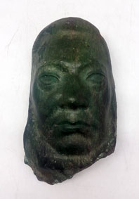 "Hennie POTGIETER ""Paul Kruger"", 1936 - carved and incised green marble from Querceta / Forte dei Marmi - 20cm H - signed"