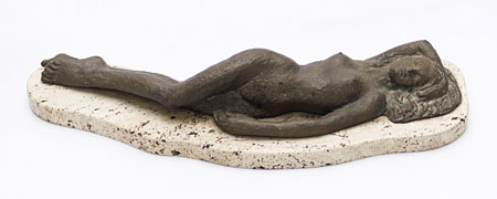 "Hennie POTGIETER ""Reclining Nude"", 1971 - bronze - ed. 2/6 - 43cm L - auctioned by Bernardi Auctioneers, Pretoria - 13th July, 2013 - Lot 299"