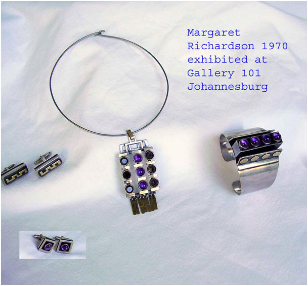 Margaret Richardson - a selection of silver jewellery shown at Gallery 101 Johannesburg in 1970