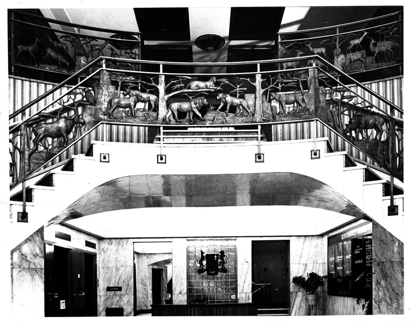 Lily SACHS Reinsurance House, Johannesburg – 22 four foot bronze panels of South African animals in the staircase of the original building