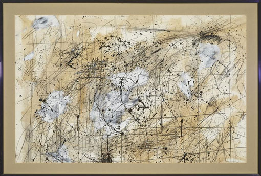 "Lucas SEAGE Lot 154 ""Untitled abstract with calligraphy"", 1986 - m/media on paper - 60x3x94 cm, dated and signed mid-right edge (Private Coll., Canada) (img. Waddington's, Toronto)"