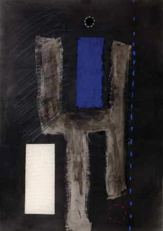 "Lucas SEAGE ""Abstract composition with blue"" - m/med. on paper - 70x49 cm"