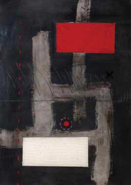 "Lucas SEAGE ""Abstract composition with red"" - m/med. on paper - 70x49 cm"