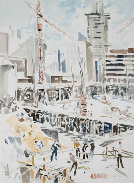 "John Stapley ""The start of Superblock"", 1980 watercolour 76x56 cm (img © The Standard Bank Corporate Art Collection)"