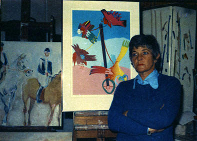 Stephanie WATSON in her studio at Rynfield in 1975