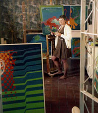"Stephanie Watson in her studio, 1969, working on her ""Subaqua"" series"