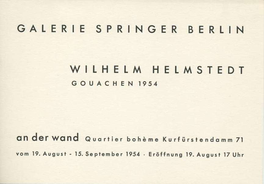 Wilhelm HELMSTEDT showing gouaches at Galerie Springer, Berlin, in 1954