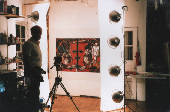 Claude VAN LINGEN in his studio at 552 Broadway, SOHO N.Y. mid-1980s
