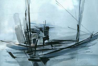 "Claude VAN LINGEN ""Rocking boat"", 1966 - watercolour - 21.5x30.5 cm"